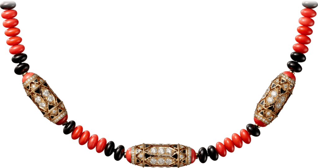 High Jewelry necklacePink gold, coral, onyx, black lacquer, diamonds