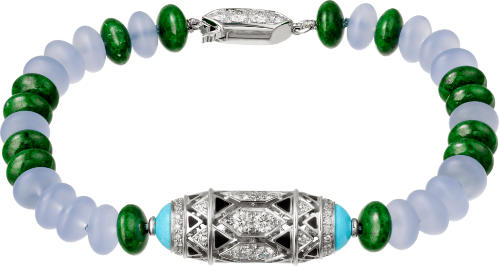 High Jewelry braceletWhite gold, chalcedony, skarn, turquoise, black lacquer, emerald cabochons, diamonds