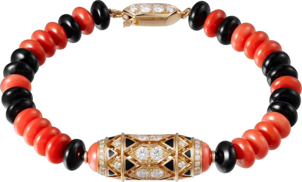 High Jewelry braceletPink gold, coral, onyx, black lacquer, diamonds