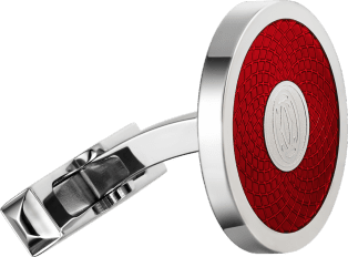 Red double C logo motif cufflinks Sterling silver, palladium finish, red lacquer