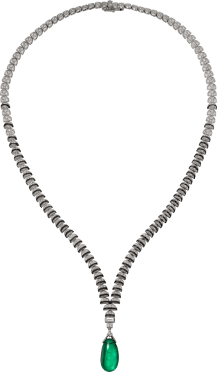 High Jewelry necklace White gold, emerald, black lacquer, diamonds