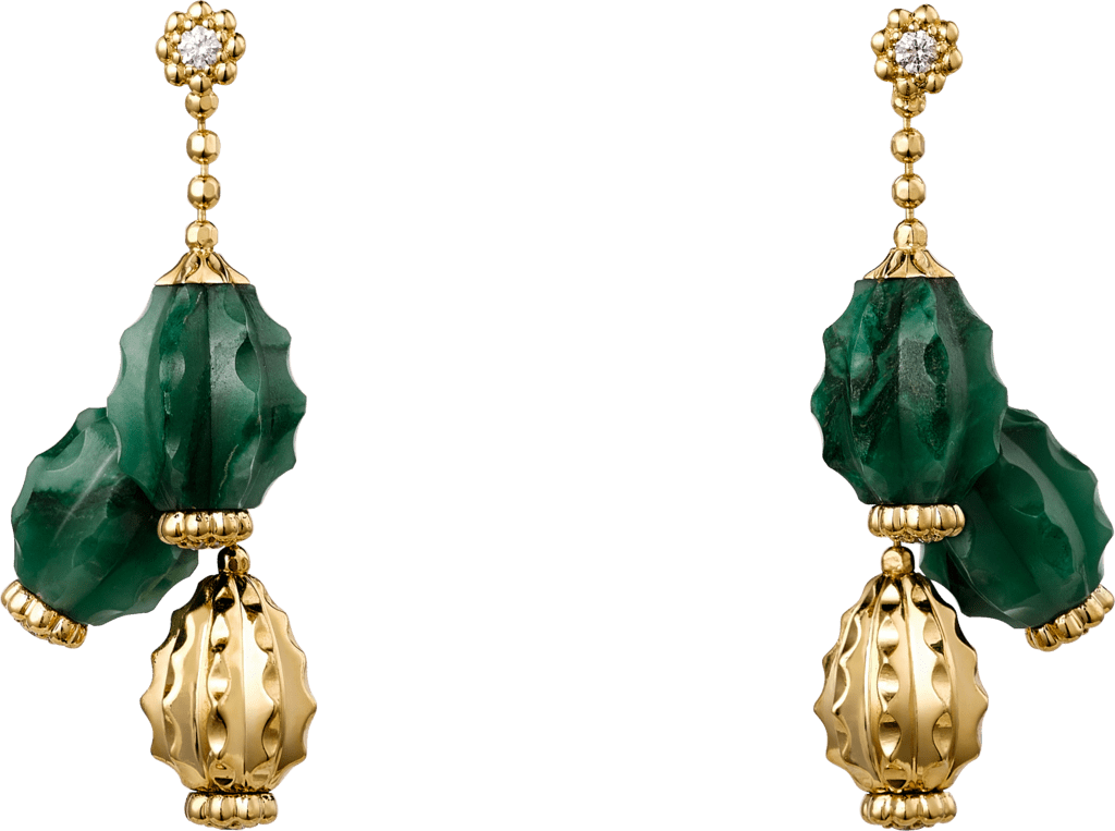 Cactus de Cartier earringsYellow gold, aventurine, diamonds