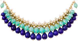 Cactus de Cartier necklace Yellow gold, chrysoprase, lapis lazuli, diamonds