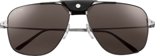 Santos de Cartier sunglasses Metal, smooth dark ruthenium finish, dark gray lenses.