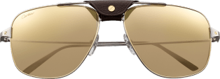 Santos de Cartier sunglasses Smooth ruthenium metal, lenses with white golden mirror effect.