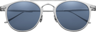C de Cartier Sunglasses Metal, gray PVD finish, palladium-finish details, dark blue lenses.