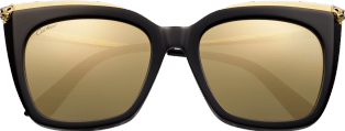 Panthère de Cartier sunglasses Combined black, smooth golden finish, lenses with white golden mirror effect.