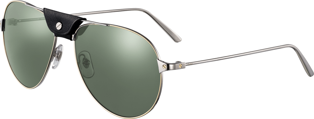 Santos de Cartier sunglassesMetal, smooth ruthenium and golden finish, gray lenses with silver-toned flash.