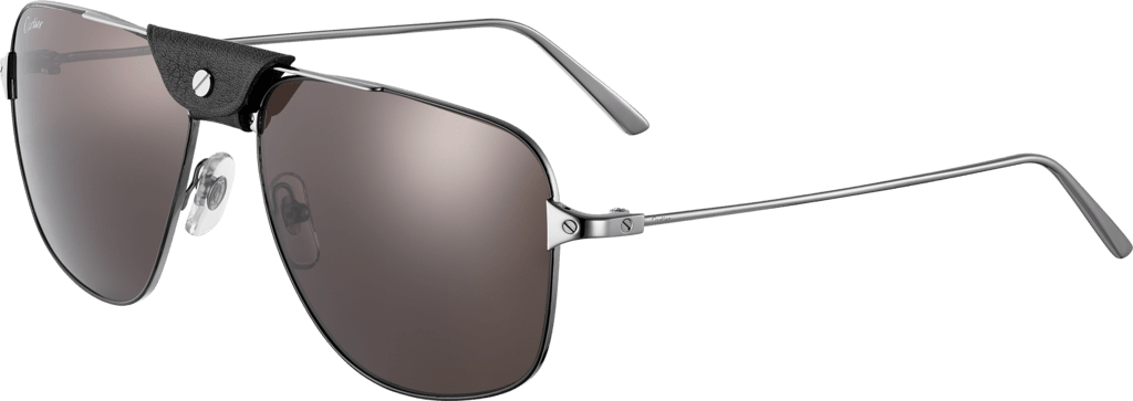 Santos de Cartier sunglassesMetal, smooth dark ruthenium finish, dark gray lenses.