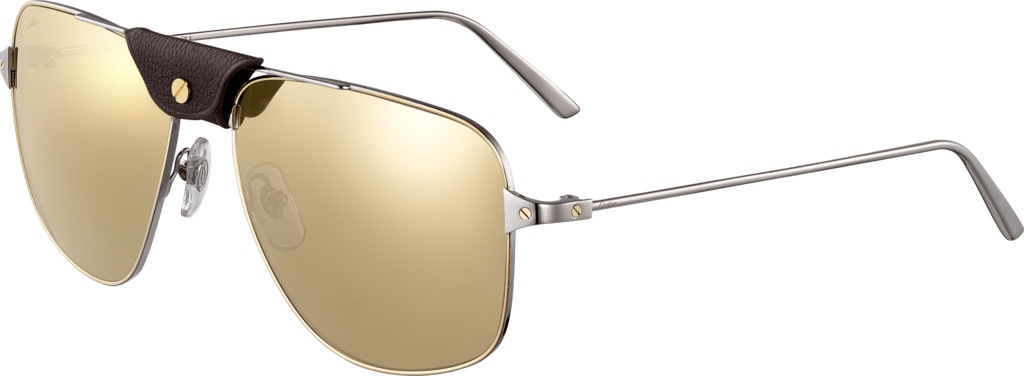 Santos de Cartier sunglassesSmooth ruthenium metal, lenses with white golden mirror effect.