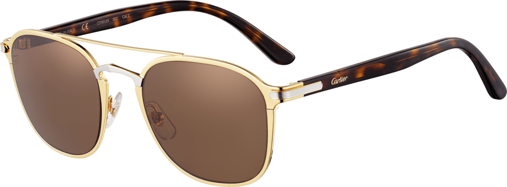 C de Cartier SunglassesCombined golden and black, matte golden-finish frame, smooth palladium-finish bridge, brown lenses.