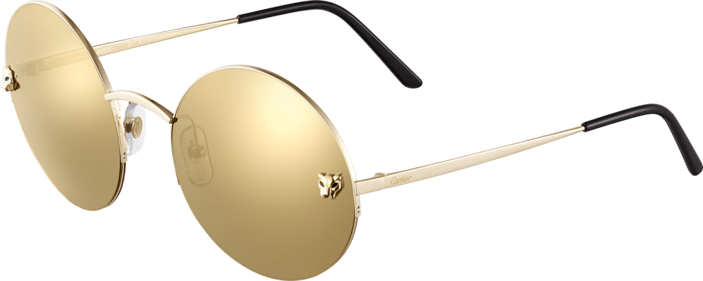 Panthère de Cartier sunglassesgolden metal, smooth champagne golden finish, golden mirror lenses.