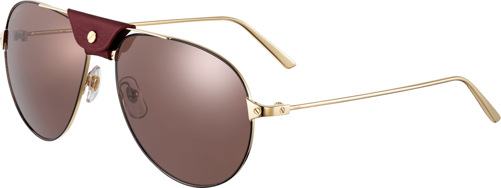 Santos de Cartier sunglassesSmooth champagne golden and black lacquer-finish metal, burgundy lenses.