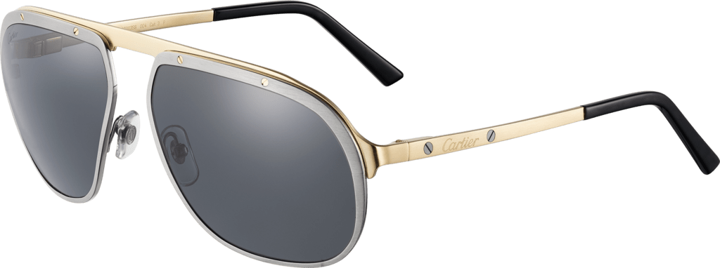 Santos de Cartier sunglassesBrushed ruthenium and champagne golden-finish metal, gray polarized lenses.