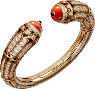 High Jewelry bracelet Rose gold, coral, onyx, black lacquer, diamonds