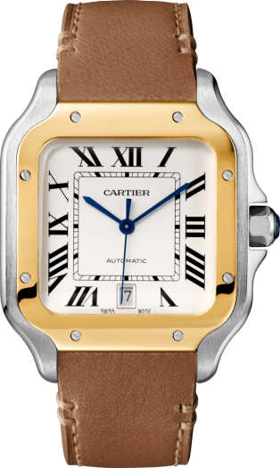 Santos de Cartier watch Large model, automatic, gold and steel, interchangeable metal and leather bracelets