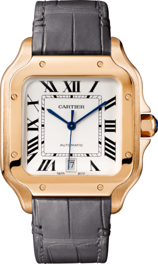 Santos de Cartier watch Large model, automatic, pink gold, interchangeable metal and leather bracelets
