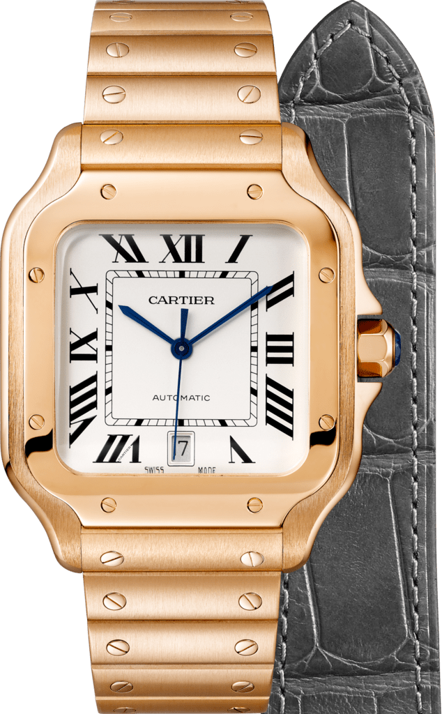 Santos de Cartier watchLarge model, automatic, pink gold, interchangeable metal and leather bracelets