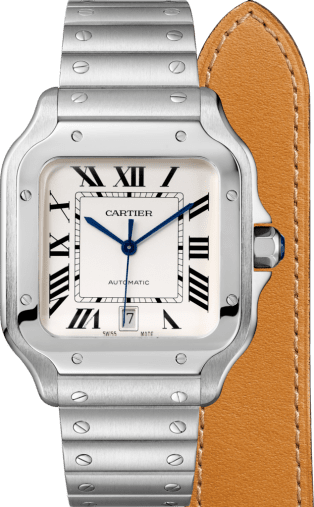 Santos de Cartier watch Large model, automatic movement, steel, interchangeable metal and leather bracelets