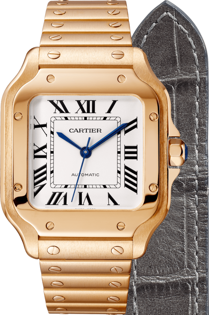 Santos de Cartier watchMedium model, automatic, pink gold, interchangeable metal and leather bracelets
