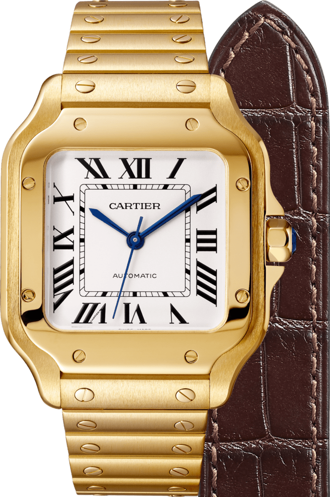 Santos de Cartier watchMedium model, automatic, yellow gold, interchangeable metal and leather bracelets