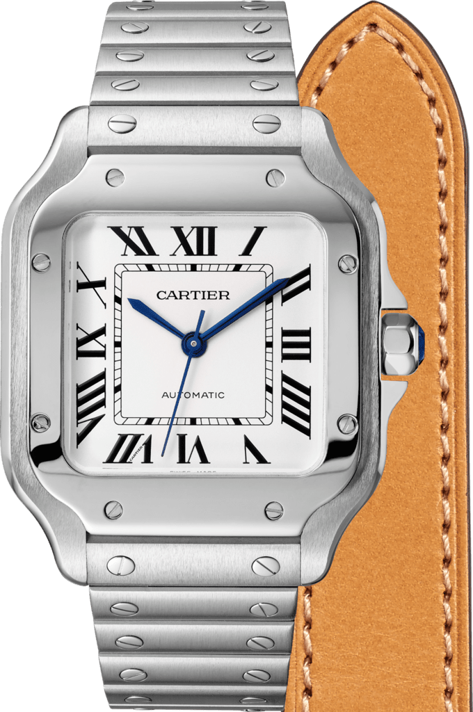 Santos de Cartier watchMedium model, automatic movement, steel, interchangeable metal and leather bracelets