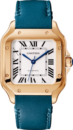 Santos de Cartier watch Medium model, automatic, pink gold, 2 interchangeable leather bracelets