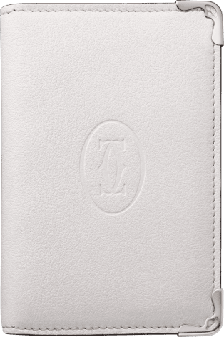 Must de Cartier Small Leather Goods, card holder White calfskin, stainless steel finish