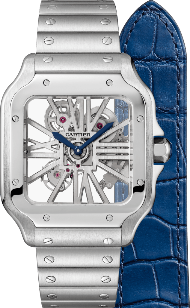 Santos de Cartier Skeleton watchLarge model, manual, steel, interchangeable metal and leather bracelets
