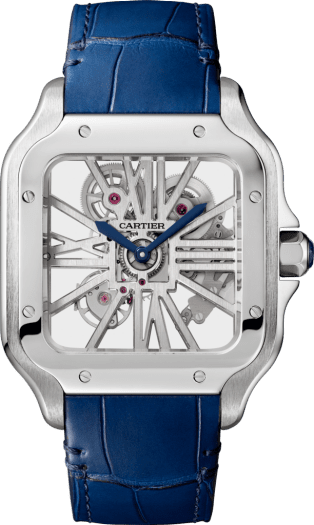 Santos de Cartier Skeleton watch Large model, manual, steel, interchangeable metal and leather bracelets