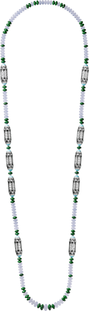 High Jewelry necklace White gold, chalcedony, skarn, turquoise, black lacquer, diamonds