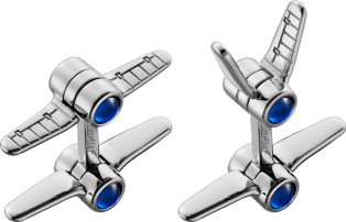 Santos de Cartier biplane cufflinks Sterling silver, palladium finish and synthetic spinel