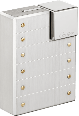 Lighter Brushed palladium-finish metal with gold-finish screw décor.