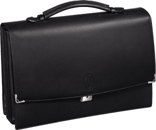 Must de Cartier bag, briefcase with three gussets Black calfskin, palladium finish