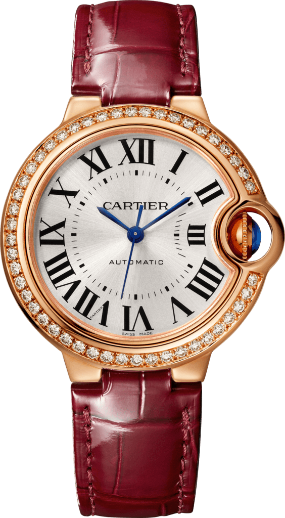 Ballon Bleu de Cartier watch33mm, automatic movement, rose gold, diamonds, leather