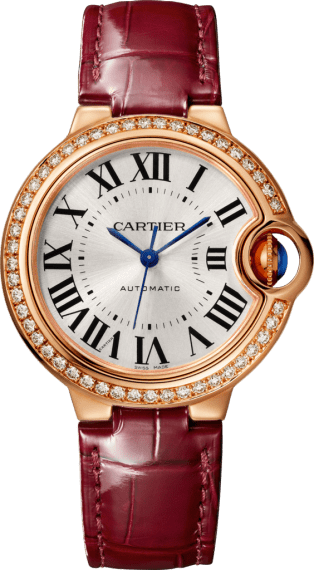 Ballon Bleu de Cartier watch 33mm, automatic movement, rose gold, diamonds, leather