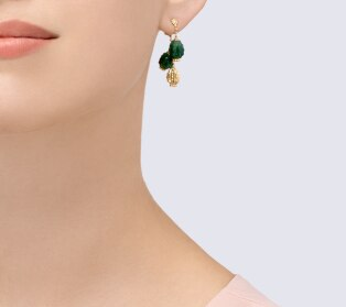 Cactus de Cartier earrings Yellow gold, aventurine, diamonds