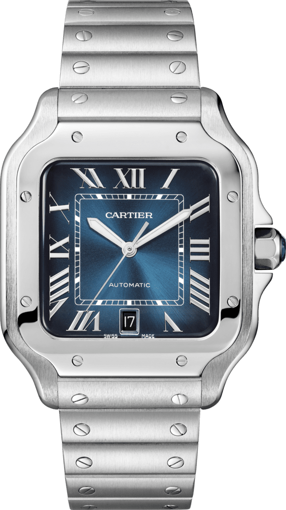 Santos de Cartier watchLarge model, automatic movement, steel, interchangeable metal and leather bracelets