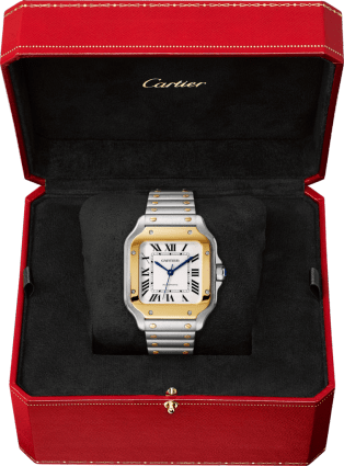 Santos de Cartier watch Medium model, automatic, yellow gold and steel, interchangeable metal and leather bracelets