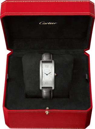 Tank Cintrée watch Platinum, leather