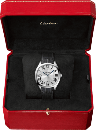 Drive de Cartier Extra-Flat watch Large model, hand-wound mechanical movement, white gold, leather