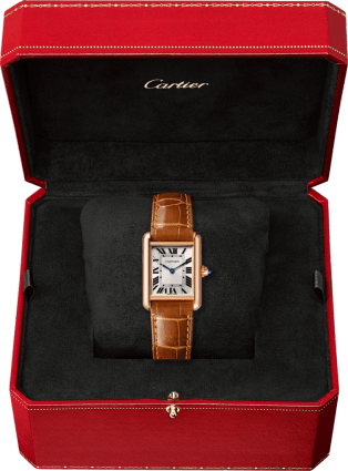 Tank Louis Cartier watch Small model, pink gold, leather