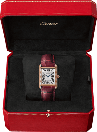 Tank Louis Cartier watch Large model, hand-wound mechanical movement, rose gold, diamonds, leather