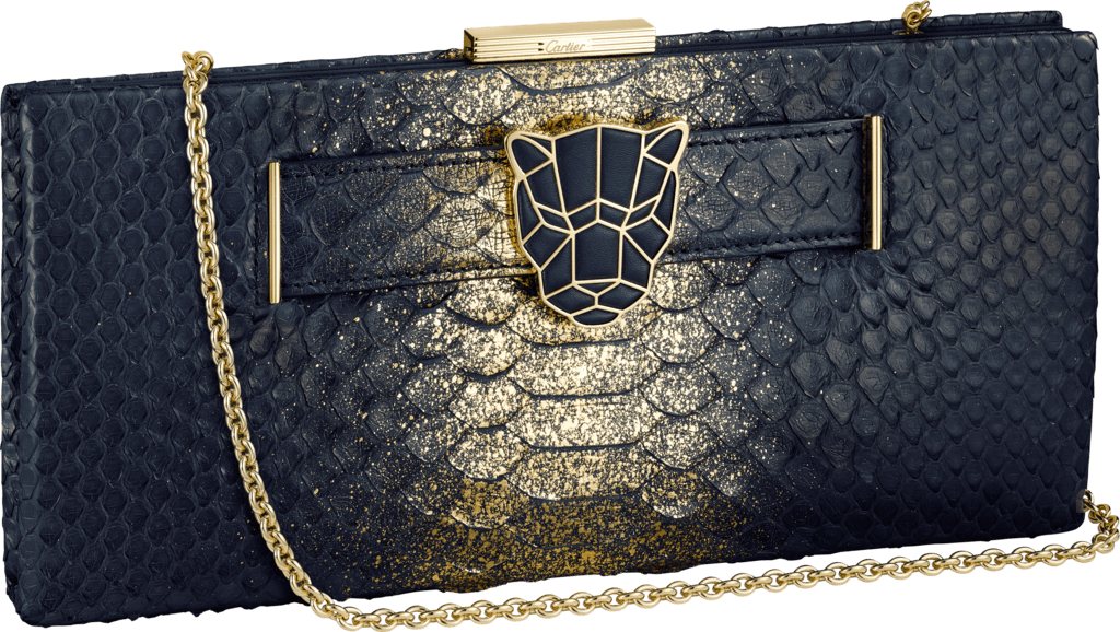 Panthère de Cartier clutch bagMidnight blue and golden python skin, golden finish