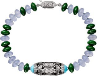 High Jewelry bracelet White gold, chalcedony, skarn, turquoise, black lacquer, emerald cabochons, diamonds