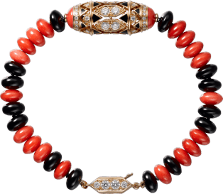 High Jewelry bracelet Pink gold, coral, onyx, black lacquer, diamonds