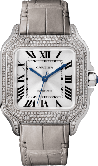Santos de Cartier watch Medium model, automatic, white gold, diamonds, 2 interchangeable leather bracelets