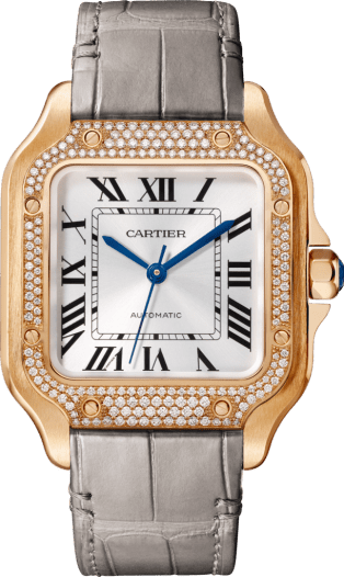 Santos de Cartier watch Medium model, automatic, pink gold, diamonds, 2 interchangeable leather bracelets