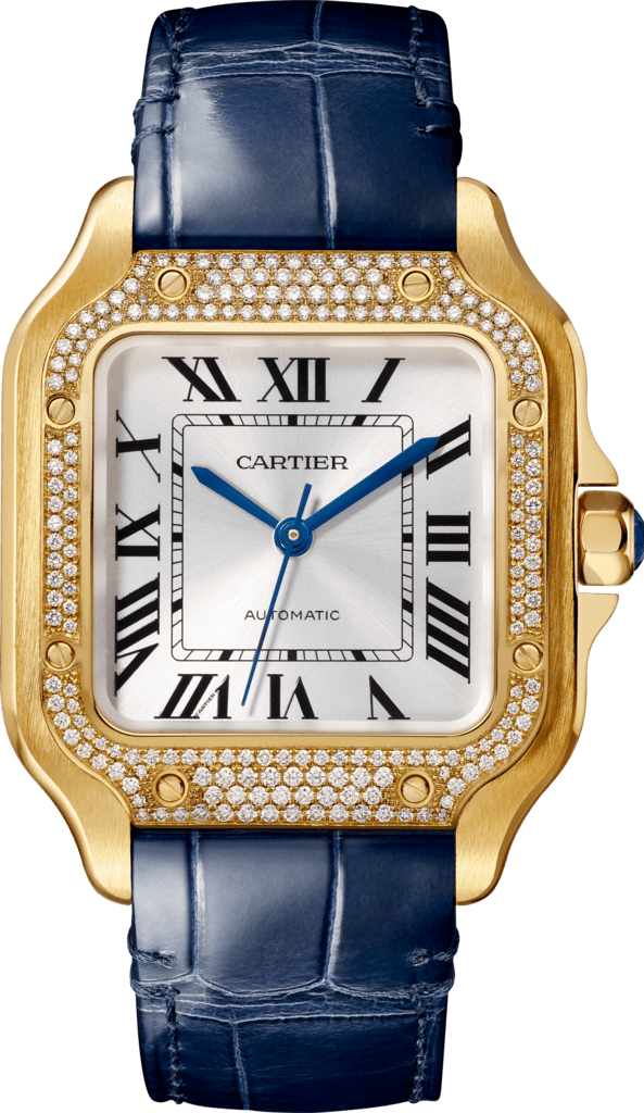 Santos de Cartier watchMedium model, automatic, yellow gold, diamonds, 2 interchangeable leather bracelets