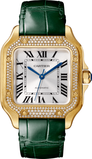 Santos de Cartier watch Medium model, automatic, yellow gold, diamonds, 2 interchangeable leather bracelets